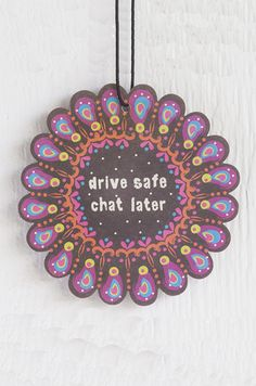 Natural Life Drive Safe Chat Later Air Freshener :: Set of 3 :: $6.99 :: Groovys.com :: orange scented, car air freshener, colorful camper design