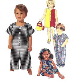 1990s Girls Boys Jumpsuit Pattern Long Short Sewing McCall's Uncut Toddler Size 2 - 3 - 4