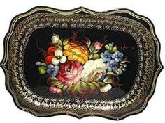 Zhostovo painted trays...beautiful! I love these so much