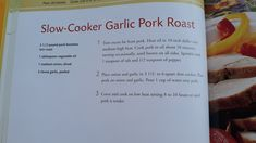 Crock Pot Cooking, Pork Roast, Crockpot, Cooker, Nom Nom, Garlic, Dinner, Dining, Slow Cooker