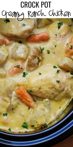 Crock Pot Creamy Ranch Chicken, Ingredients 4 boneless skinless chicken breasts 6 medium Russet potatoes, cut into pieces 2 cups baby carrots 1 large oz.) can condensed cream of chicken soup 1 oz. Crockpot Dishes, Crock Pot Slow Cooker, Crock Pot Cooking, Slow Cooker Recipes, Cooking Recipes, Crock Pots, Easy Recipes, Crockpot Meals, Dinner Recipes