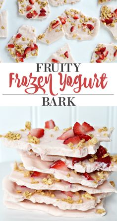 Healthy Snacks This recipe for frozen yogurt bark is an easy and delicious snack that the whole family will enjoy! - This recipe for frozen yogurt bark is an easy and delicious snack that the whole family will enjoy! Healthy Snacks For Kids, Good Healthy Recipes, Healthy Sweets, Easy Snacks, Healthy Foods To Eat, Yummy Snacks, Yummy Food, Healthy Birthday Treats, Healthy Pregnancy Snacks
