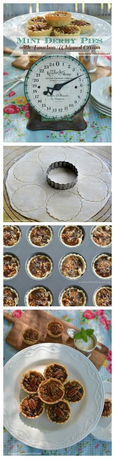 """Mini Derby Pies marry pecan pie with chocolate and a touch of Kentucky bourbon for a winning trifecta! This Bluegrass-inspired recipe is just the right size for """"the most exciting two minutes in sports"""" and to accompany your Mint Julep while watching the Kentucky Derby or as an sweet ending for a party or crowd!"""