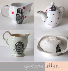 Yvonne Ellen is a ceramic artist currently living in London,UK. She hand crafts unique pieces of homeware combining charming vintage items with contemporary hand drawn illustrations. Her pieces are often adorned with fun illustrations like DJing owls, animals in top hats and knitting squirrels.