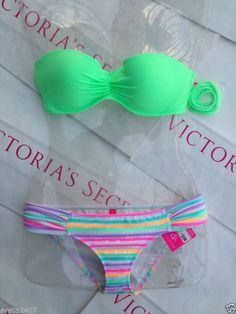 New Sexy Victoria's Secret Madi Bandeau Bikini Set Mix and Match Neon Stripes | eBay