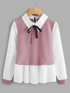 SheIn offers Ruffle Contrast Bow Tie Neck Blouse & more to fit your fashionable needs. Kawaii Fashion, Cute Fashion, Girl Fashion, Teen Fashion Outfits, Fashion Dresses, Girl Outfits, Cute Casual Outfits, Pretty Outfits, Jugend Mode Outfits
