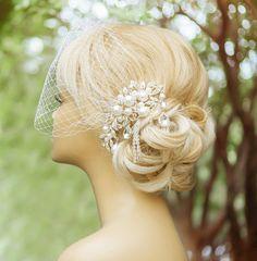 PLEASE READ THE SHOP POLICIES BEFORE ORDERING !!!    Birdcage veil, Wedding comb, Wedding fascinator, Wedding hair accessories, Ivory birdcage