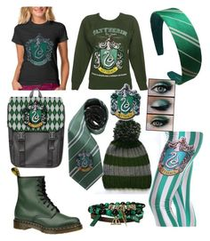"""""""Slytherin"""" by leiiix ❤ liked on Polyvore featuring Elope and Dr. Martens"""