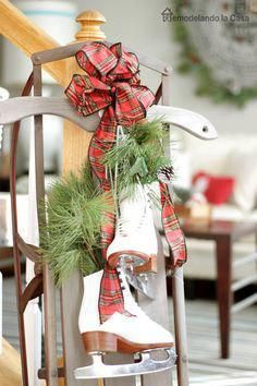 RLC Christmas Home Tour 2015 Beautiful Winter Decor – Vintage sled with white ice skates decorated for Christmas. Christmas Sled, Outdoor Christmas, Country Christmas, Christmas Projects, Winter Christmas, Vintage Christmas, Christmas Wreaths, Christmas Ideas, Primitive Christmas