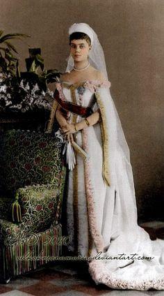 Grand Duchess Xenia Alexandrovna Romanova of Russia, sister to the last Tsar Nicholas II., in full court dress in 1893.