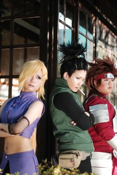 Need I tell you how phenomenal this cosplay of NARUTO's Team 10 is? Ino, Shikamaru and Choji make up team Asuma. Naruto Cosplay, Anime Cosplay, Epic Cosplay, Amazing Cosplay, Vocaloid Cosplay, Cosplay Makeup, Naruhina, Boruto, Akatsuki