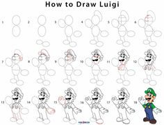 How to Draw Luigi (Step by Step Pictures) Cool Art Drawings, Doodle Drawings, Disney Drawings, Cartoon Drawings, Easy Drawings, How To Draw Mario, Mario Und Luigi, Bridge Drawing, Pretty Writing