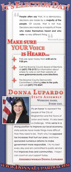 Election Day newspaper ad for for New York State Assemblywoman Donna Lupardo's (D-Endwell) re-election campaign in 2010