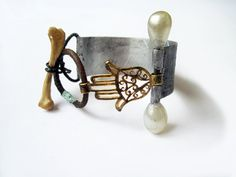 The Guiding Hand Hamsa with pearl pin bone by fancifuldevices, $67.00
