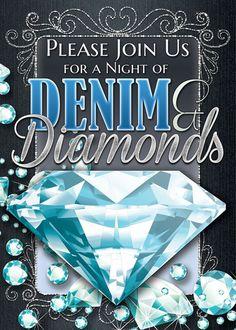 denim and diamond party ideas | Denim and Diamonds Invitations - Custom Printed Flat Cards - for ...