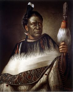 Ngairo Rakai Hikuroa, chief of the Ngati Kahungunu Wairarapa on the south-eastern coast of North Island, resplendent wearing a beautiful cloak, Huia feathers and shark-tooth and red wax ear pendant. Oil painting signed by G. Maori Tattoos, Ta Moko Tattoo, Samoan Tattoo, Maori People, Tribal People, Facial Tattoos, Body Tattoos, John Singer Sargent, Gustav Klimt