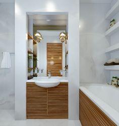 ванная комната, современный дизайн, керамогранит, деревянные панели.