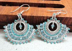 Earrings beadwork teal blue silver turquoise sparkling ooak