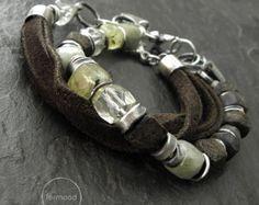 Pulseras set - plata, ámbar, amatista verde, Prehnita, aguamarina, marrón cuero