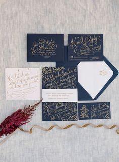 navy wedding invitations - photo by Kelli Boyd Photography http://ruffledblog.com/parisian-twilight-wedding-inspiration