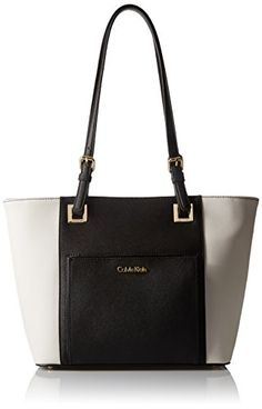 Calvin Klein Saffiano Top Zip Tote Bag, Black/White, One Size >>> Check out the image by visiting the link.