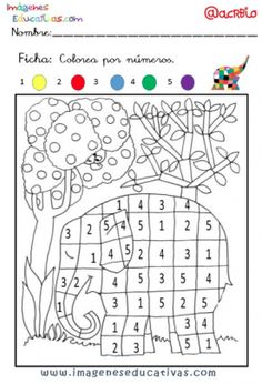 Coloriage Chiffre 5 - Through the thousand photos on the net in relation to Coloriage Chiffre we picks the top seri Preschool Worksheets, Preschool Activities, Elmer The Elephants, Color By Numbers, Colouring Pages, Fine Motor Skills, Pre School, Book Activities, Kids And Parenting
