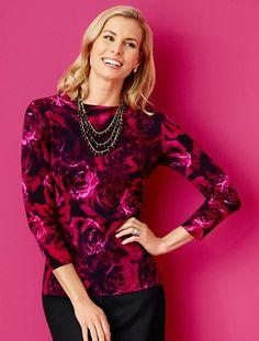 Talbots - Baroque Rose-Print Merino Sweater | Misses | Misses