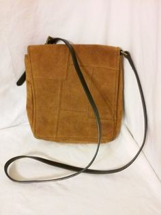 18860887eb Boho chic vintage brown patchwork suede leather front flap messenger bag  crossbody by Wilsons leather .