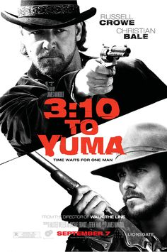 to Yuma is a 2007 western film directed by James Mangold and produced by Cathy Konrad, and stars Academy Award winners Russell Crowe and Christian Bale in the lead roles, with supporting performances by Logan Lerman, Peter Fonda, and Ben Foster. Logan Lerman, Christian Bale, Film Gif, Film Serie, Video Film, Great Films, Good Movies, Love Movie, Action Movies