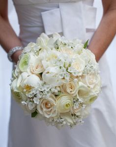 Unique twist on the classic white bridal bouquet Blue White Weddings, White Wedding Bouquets, Floral Bouquets, Wedding Flowers, Bridal Bouquets, Wedding Colors, Perfect Wedding, Our Wedding, Dream Wedding