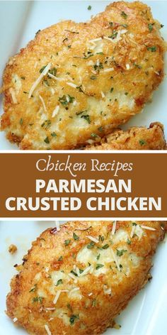 This Parmesan Crusted Chicken is an easy meal idea. We use pounded thin chicken breasts, coat in a delicious Parmesan coating, and then fried to make them crispy. Add this chicken idea to your dinner this week. Chicken Parmesan Recipes, Easy Chicken Recipes, Chicken Parmesian, Chicken Breats Recipes, Chicken Recipes For Dinner, Low Calorie Chicken Recipes, Chicken Recepies, Healthy Chicken Dinner, Salads