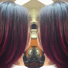 Retouched my beautiful mom's hair ❤️❤️❤️ 4N base with joico intensities custom mixture of equal parts wild orchid, magenta & Hot Pink!!!