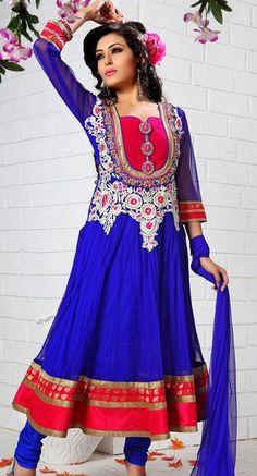 $131.76 Blue Zardosi with Stone Work Net Anarkali Salwar Kameez 25979