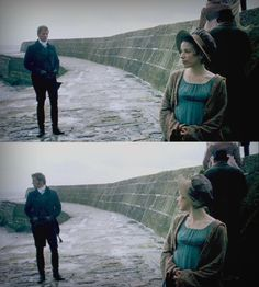 Lyme Regis, Dorset, England, UK - .. Love how they try to avoid each other but still have to take a look.. - Persuasion directed by  Adrian Shergold (TV Movie, 2007)  #janeausten #fanart