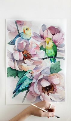 Lovebirds 🌙 Which one do you like the most? ♥️ (Original is available for purchase) Watercolor Flowers, Watercolor Paintings, Watercolour, Bright Art, Bird Drawings, Art Store, Botanical Art, Bird Art, Watercolor Illustration