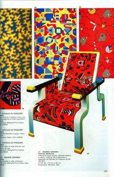 Nathalie du Pasquier y George Sowden. Años ochenta. Los textiles y el mobiliario con reminiscencias de diseños de los años veinte, como los de Sonia Delaunay. #Esmadeco.
