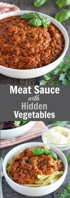 Meat Sauce with Hidden Vegetables - A hearty meat and tomato sauce filled with hidden pureed vegetables. Serve this sauce with spaghetti, lasagna, stuffed peppers, roasted vegetables and more!