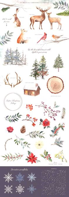 A Woodland Christmas Graphic Set by Twigs and Twine on Creative Market Watercolor painting art for inspiration and new ideas. This illustration is perfect for cards, quotes, background, etsy shop decoration or wallpaper. Source by feengarten Painted Christmas Cards, Watercolor Christmas Cards, Watercolor Cards, Watercolor Background, Watercolor Paintings, Christmas Crafts, Painting Art, Christmas Quotes, Christmas Scenes