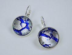Ohrringe blau mit silber Glas Cabochons mit von ArtJewelryFun