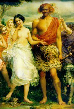 """Detalle de """"Cimón e Ifigenia"""" de J. E. Millais. Ifigenia duerme en una arboleda junto al mar cuando Cimón, un noble pero inculto joven chipriota, se prenda de su belleza. Empujado por ese amor, Cimón decide cultivarse, convirtiéndose en un versado y fino cortesano."""