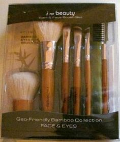 I On Beauty Eyes & Face Brush Set - Geo-Friendly Bamboo Collection Face & Eyes Set by I On Beauty. $25.50. This 7 piece set features: Kabuki, Powder/Bronzer, Concealer, Eye Defining, Angle Eyeliner, Eyebrow Brush/Comb combo. Perfect for Travel. Zippered Pouch. Super Soft Synthetic Talkon Hair ? 100% Cruelty Free ? Recycled Material. Throughout history Bamboo has been a symbol of serene inspiration. It is a sustainable and renewable plant that matures to harvest in about a year...