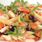 Free surimi pasta salad recipe. Try this free, quick and easy surimi pasta salad recipe from countdown.co.nz. Large Salad Bowl, Salad Bowls, Roasted Almonds, Penne Pasta, Pasta Salad Recipes, Recipe Today, Cherry Tomatoes, Quick Meals, Vegan Vegetarian