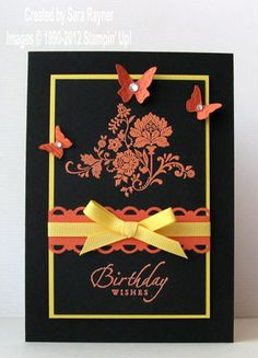 Stamp sets: Fresh Vintage (W125115 or C125117) (Free Sale-a-bration set), Sincere Salutations (W105156)  Cardstock: Basic Black (121688), Tangerine Tango (116206), Daffodil Delight (121680)  Ink: Versamark (102283)  Punches:  Scallop Trim Border (118402)  1/4″ Grosgrain Ribbon: Daffodil Delight (120928)  Embosslits Die: Beautiful Wings (118138)