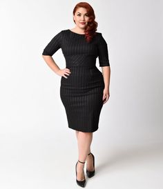Frame it with pinstripe, darling. The Plus Size Vintage Style Hepburn Pencil Dress from The Pretty Dress Company is created in a ravishing black with white pinstripes throughout. This divine plus size wiggle design holds you in and pushes you up with a wi