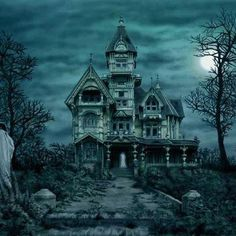 Haunted House - Fantasy Wallpaper ID 1586745 - Desktop Nexus Abstract Halloween Pictures, Halloween Art, Holidays Halloween, Vintage Halloween, Happy Halloween, Scream Halloween, Halloween Night, Most Haunted Places, Scary Places