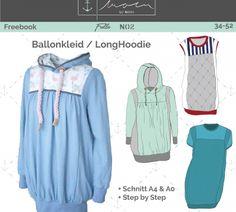 Freebook - Moin #FullaNo2 - Ballonkleid / langer Hoodie / Damen 34-52