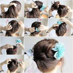 Quick Hair Bun! Use a chopstick to make a quick hair bun! So creative! #quickhairbun #howtousehairchopstick #creativehairstyle