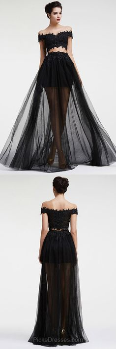 Two Piece Prom Dresses Lace, Long Prom Dresses For Teens 2018, Cheap Formal Party Dresses Off-the-shoulder, A-line Evening Pageant Dresses Tulle