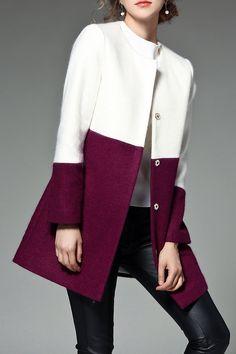 Color Block Mohair Coat