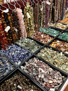 Dishfunctional Designs: My Visit To Rings & Things Bead Show Philly - just some of the 1000's of strands they bring so you can hand select what works for you.